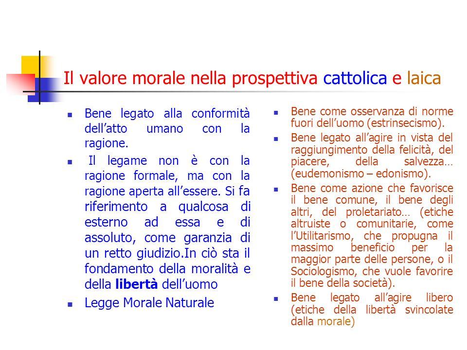 Il valore morale nella prospettiva cattolica e laica Bene legato alla conformità dellatto umano con la ragione.