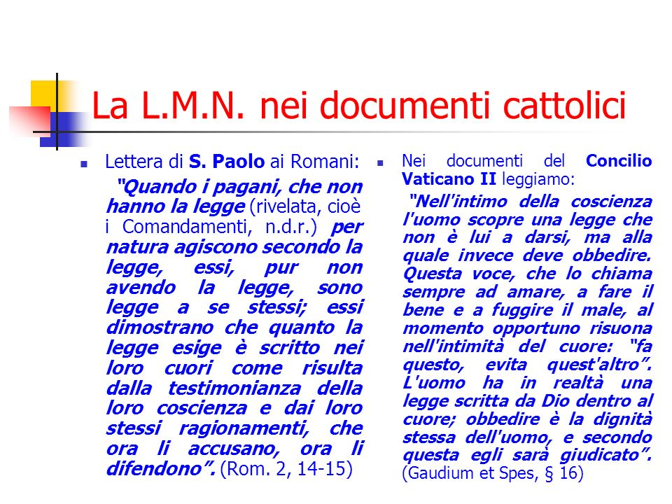 La L.M.N.nei documenti cattolici Lettera di S.