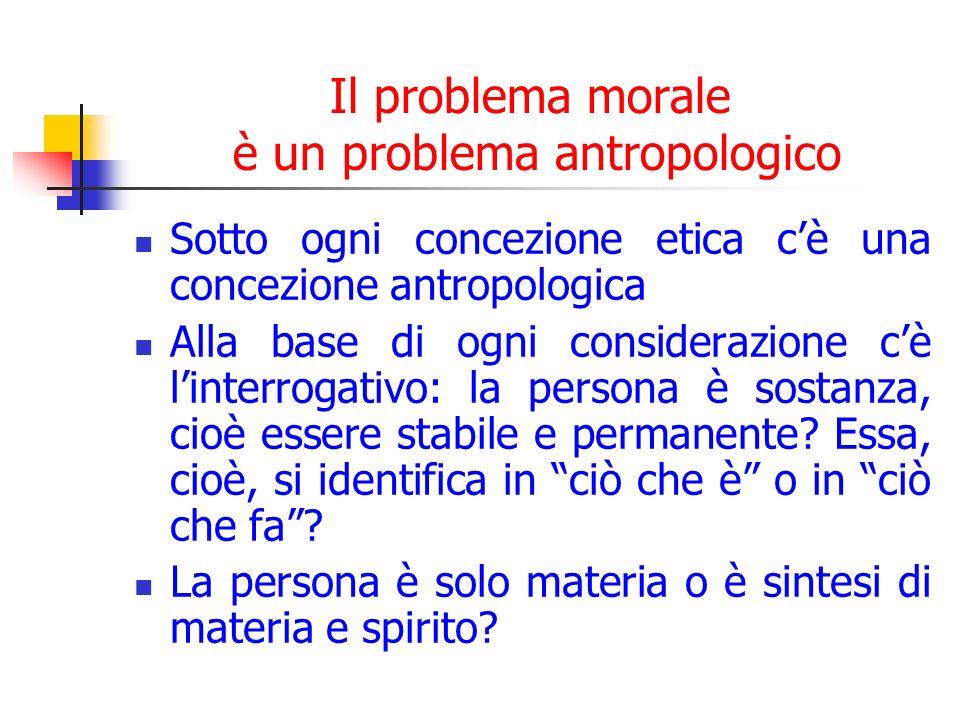 Il problema morale è un problema antropologico Sotto ogni concezione etica cè una concezione antropologica Alla base di ogni considerazione cè linterrogativo: la persona è sostanza, cioè essere stabile e permanente.
