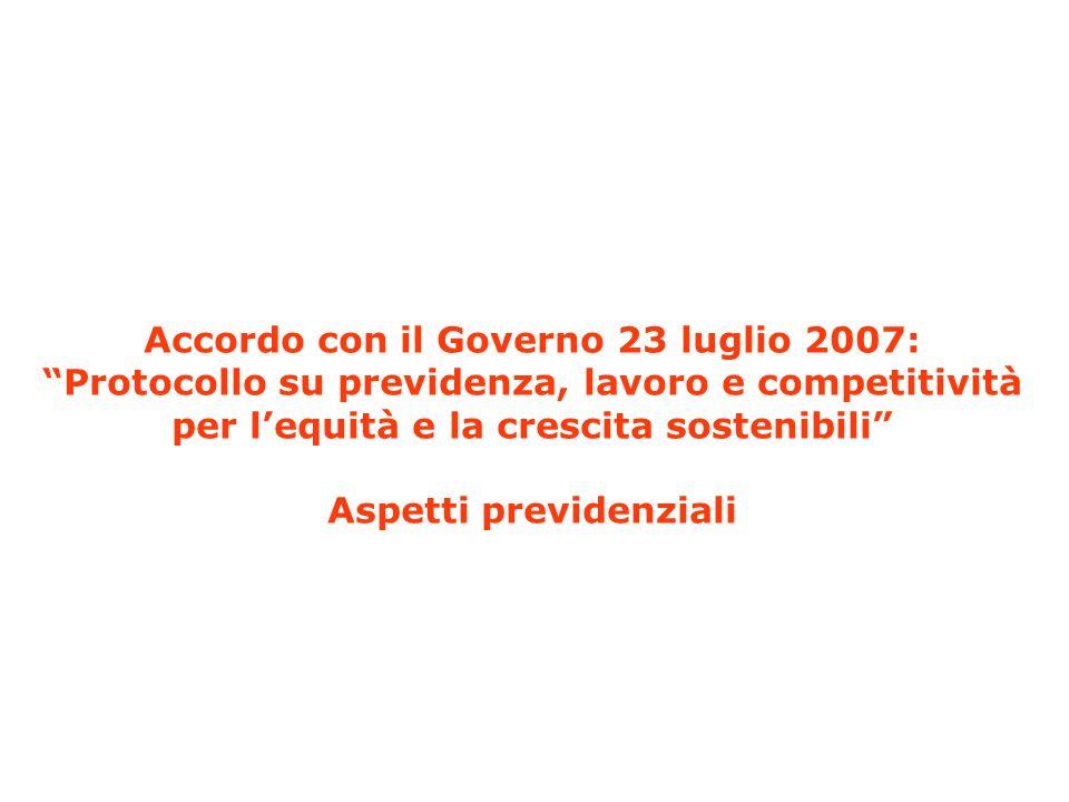 Accordo con il Governo: aspetti previdenziali Come si arriva allaccordo: DPEF 2007 -2011 (Luglio 2006) Memorandum dintesa tra Governo e Cgil, Cisl Uil obiettivi e linee di una revisione del sistema previdenziale (27 settembre 2006) Finanziaria per il 2007 (Legge 27 dicembre 2006, n.296) Piattaforma unitaria di Cgil, Cisl e Uil (5 febbraio 2007) Protocollo su previdenza, lavoro e competitività per lequità e la crescita sostenibili (23 luglio 2007)