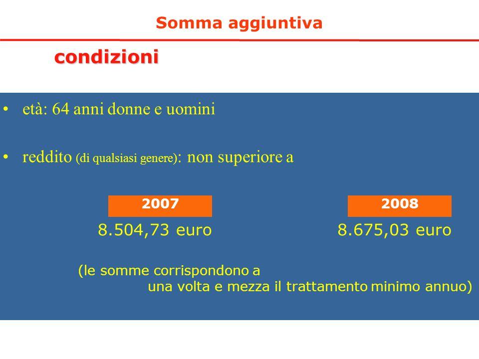 Somma aggiuntiva condizioni età: 64 anni donne e uomini reddito (di qualsiasi genere) : non superiore a 20072008 8.504,73 euro8.675,03 euro (le somme