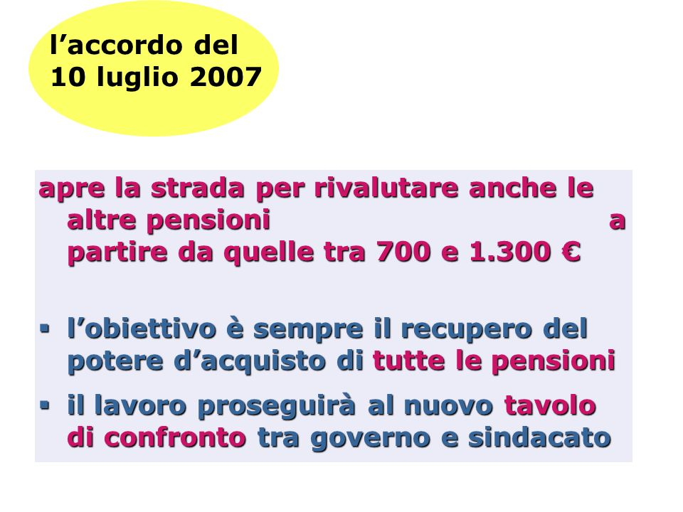 laccordo del 10 luglio 2007 apre la strada per rivalutare anche le altre pensioni a partire da quelle tra 700 e 1.300 apre la strada per rivalutare an