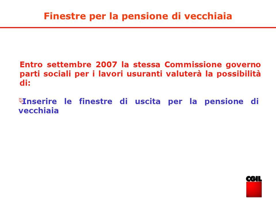 Inserire le finestre di uscita per la pensione di vecchiaia Entro settembre 2007 la stessa Commissione governo parti sociali per i lavori usuranti val