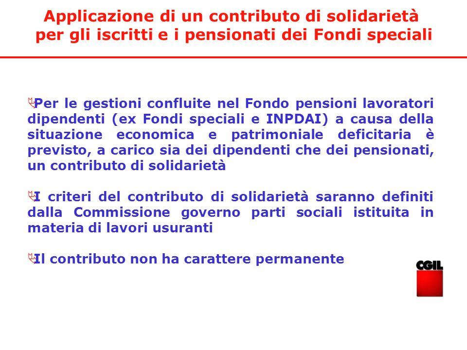 Applicazione di un contributo di solidarietà per gli iscritti e i pensionati dei Fondi speciali Per le gestioni confluite nel Fondo pensioni lavorator