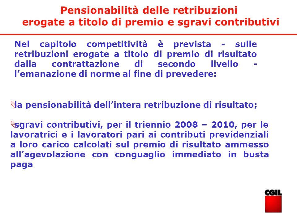 Pensionabilità delle retribuzioni erogate a titolo di premio e sgravi contributivi Nel capitolo competitività è prevista - sulle retribuzioni erogate