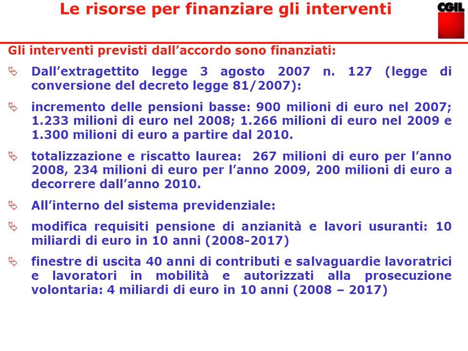 Gli interventi previsti dallaccordo sono finanziati: Dallextragettito legge 3 agosto 2007 n. 127 (legge di conversione del decreto legge 81/2007): inc