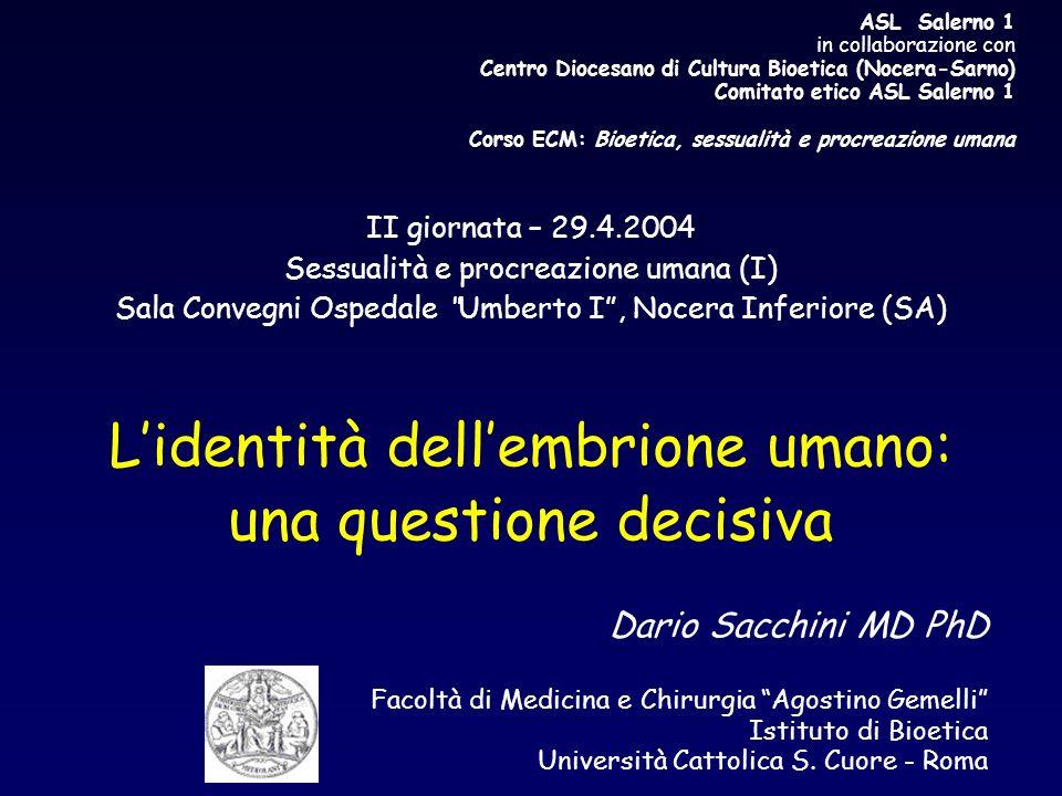 ASL Salerno 1 in collaborazione con Centro Diocesano di Cultura Bioetica (Nocera-Sarno) Comitato etico ASL Salerno 1 Corso ECM: Bioetica, sessualità e