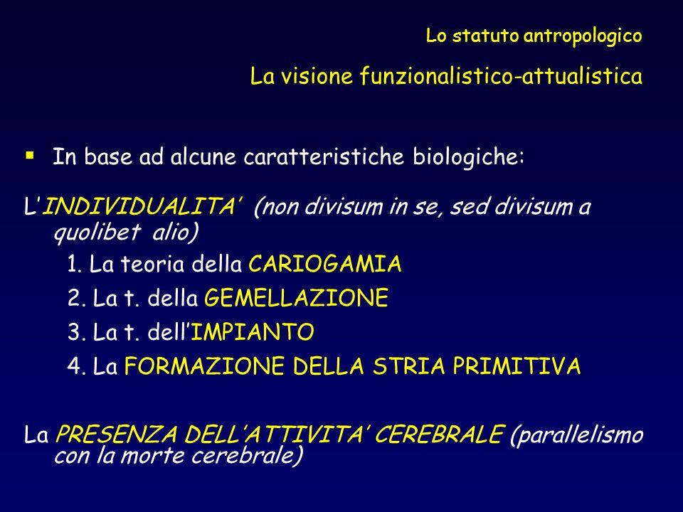 Lo statuto antropologico La visione funzionalistico-attualistica In base ad alcune caratteristiche biologiche: LINDIVIDUALITA (non divisum in se, sed