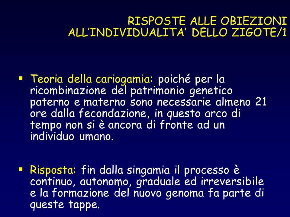 RISPOSTE ALLE OBIEZIONI ALLINDIVIDUALITA DELLO ZIGOTE/1 Teoria della cariogamia: poiché per la ricombinazione del patrimonio genetico paterno e matern