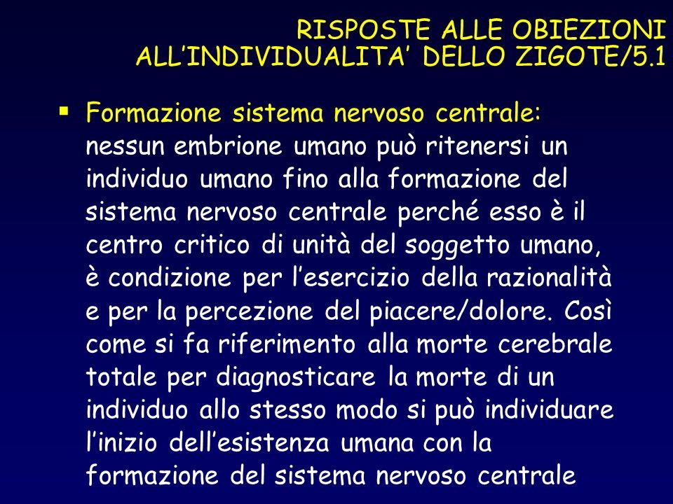 RISPOSTE ALLE OBIEZIONI ALLINDIVIDUALITA DELLO ZIGOTE/5.1 Formazione sistema nervoso centrale: nessun embrione umano può ritenersi un individuo umano