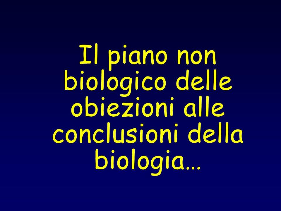 Il piano non biologico delle obiezioni alle conclusioni della biologia…