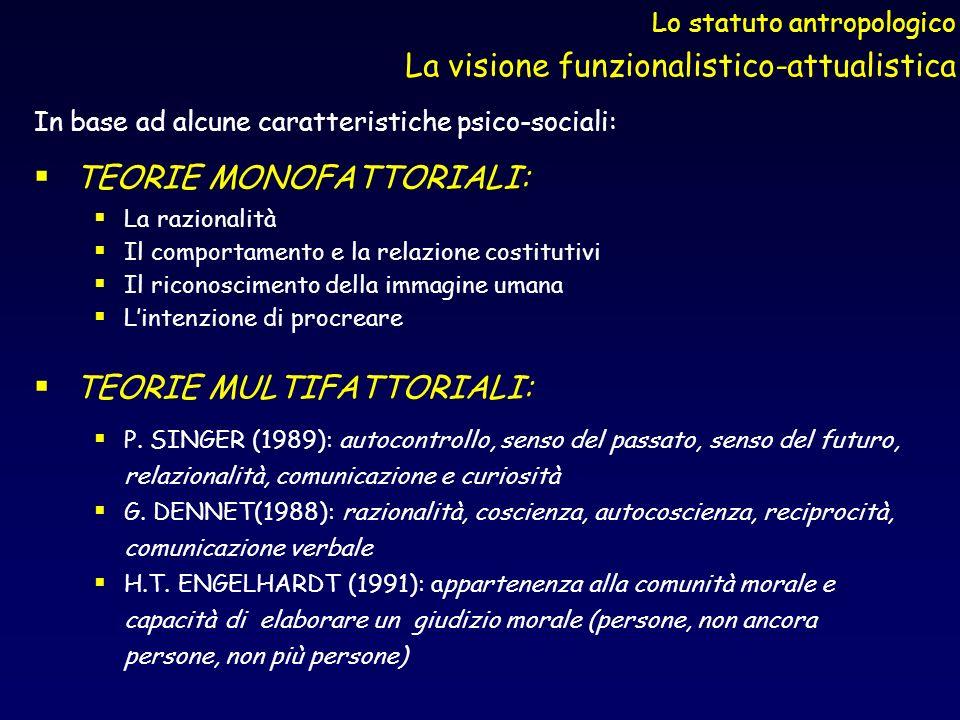 Lo statuto antropologico La visione funzionalistico-attualistica In base ad alcune caratteristiche psico-sociali: TEORIE MONOFATTORIALI: La razionalit