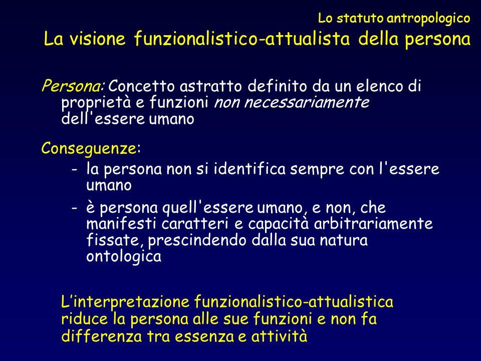 Lo statuto antropologico La visione funzionalistico-attualista della persona Persona: Concetto astratto definito da un elenco di proprietà e funzioni