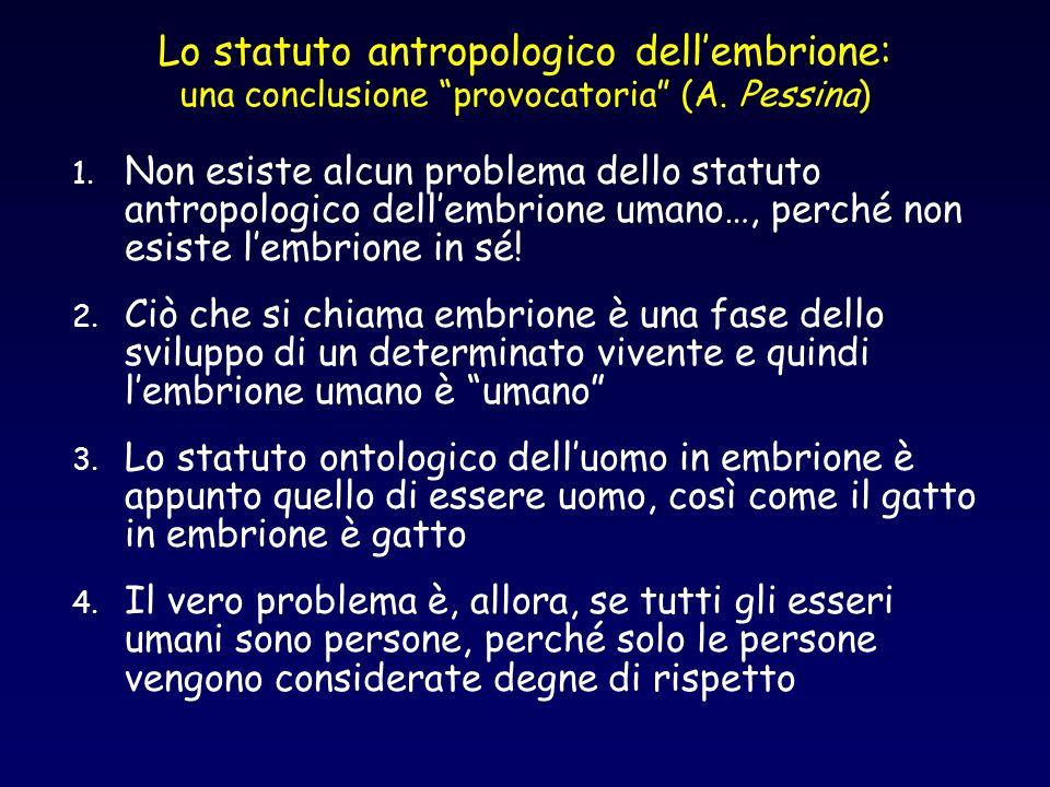 Lo statuto antropologico dellembrione: una conclusione provocatoria (A. Pessina) 1. Non esiste alcun problema dello statuto antropologico dellembrione