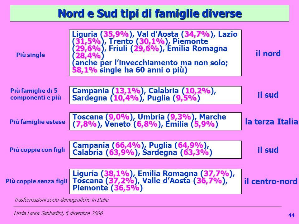 Nord e Sud tipi di famiglie diverse 35,9%34,7% 31,5%30,1% 29,6%29,6% 28,4% Liguria (35,9%), Val dAosta (34,7%), Lazio (31,5%), Trento (30,1%), Piemonte (29,6%), Friuli (29,6%), Emilia Romagna (28,4%) 58,1% (anche per linvecchiamento ma non solo; 58,1% single ha 60 anni o più) il nord Più single 13,1%10,2% 10,4%9,5% Campania (13,1%), Calabria (10,2%), Sardegna (10,4%), Puglia (9,5%) Più famiglie di 5 componenti e più il sud 9,0%9,3% 7,8%6,8%5,9% Toscana (9,0%), Umbria (9,3%), Marche (7,8%), Veneto (6,8%), Emilia (5,9%) Più famiglie estese la terza Italia 66,4%64,9% 63,9%63,3% Campania (66,4%), Puglia (64,9%), Calabria (63,9%), Sardegna (63,3%) Più coppie con figli il sud 38,1%37,7% 37,2%36,7% 36,5% Liguria (38,1%), Emilia Romagna (37,7%), Toscana (37,2%), Valle dAosta (36,7%), Piemonte (36,5%) Più coppie senza figli il centro-nord Trasformazioni socio-demografiche in Italia ___________________________________________________________________________________________________ Linda Laura Sabbadini, 6 dicembre 2006 44