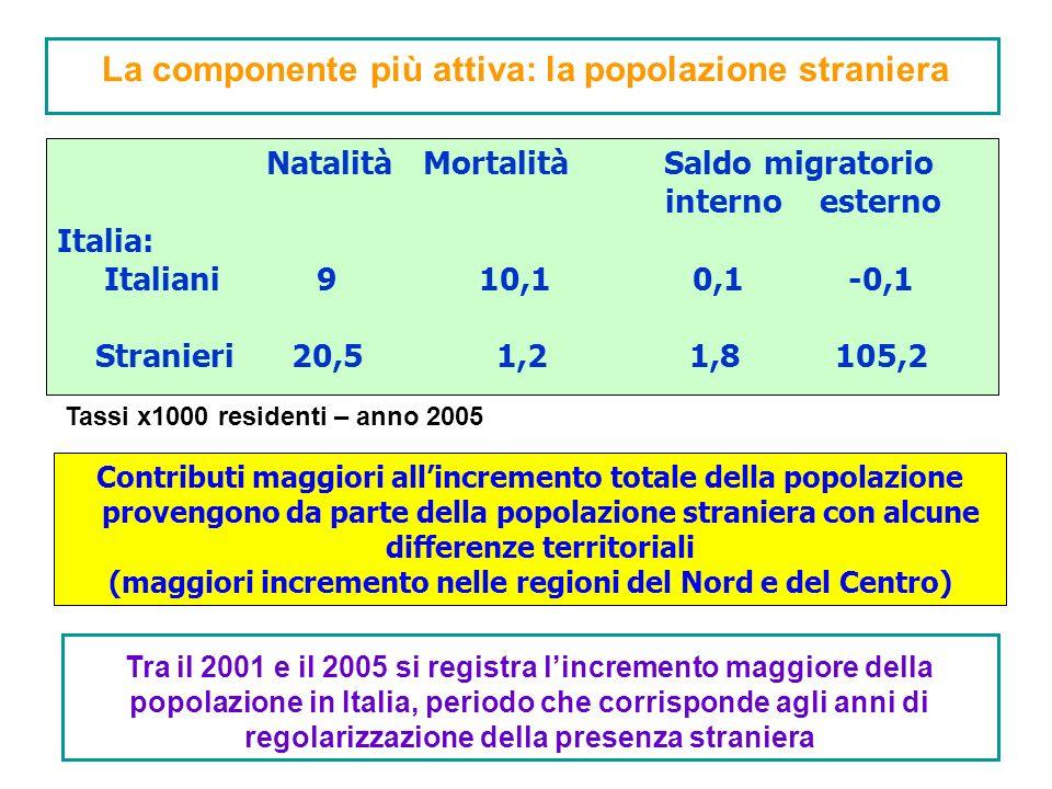 La componente più attiva: la popolazione straniera Natalità Mortalità Saldo migratorio interno esterno Italia: Italiani 9 10,1 0,1 -0,1 Stranieri 20,5 1,2 1,8 105,2 Tassi x1000 residenti – anno 2005 Contributi maggiori allincremento totale della popolazione provengono da parte della popolazione straniera con alcune differenze territoriali (maggiori incremento nelle regioni del Nord e del Centro) Tra il 2001 e il 2005 si registra lincremento maggiore della popolazione in Italia, periodo che corrisponde agli anni di regolarizzazione della presenza straniera