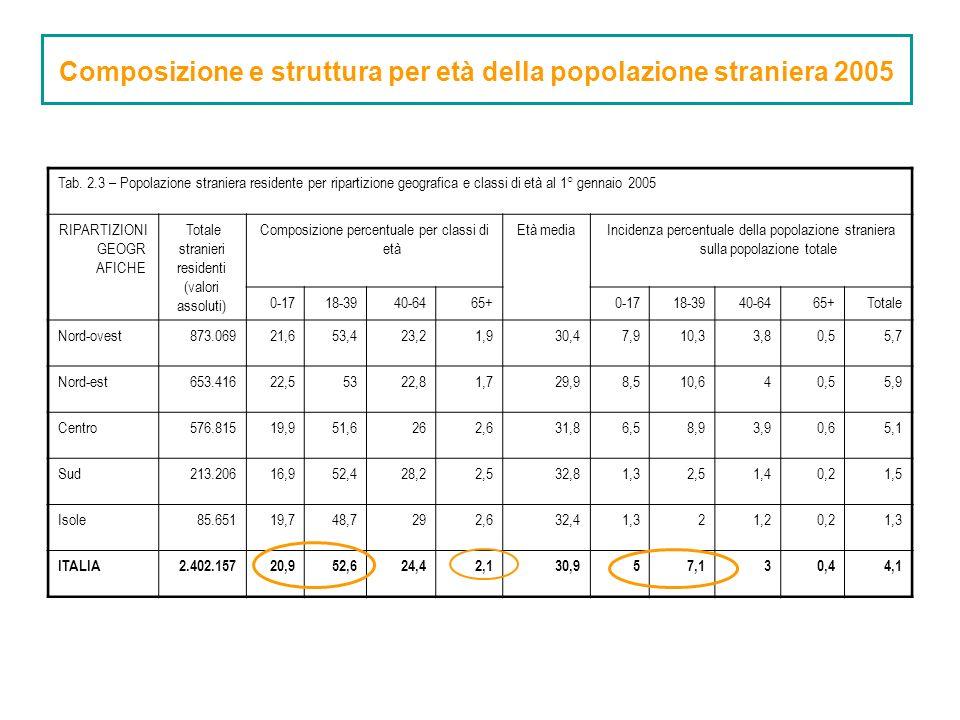 Tab. 2.3 – Popolazione straniera residente per ripartizione geografica e classi di età al 1° gennaio 2005 RIPARTIZIONI GEOGR AFICHE Totale stranieri r