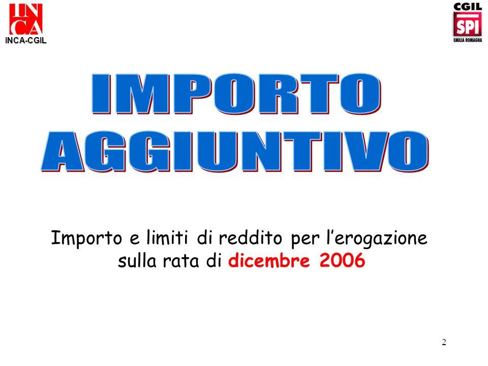 2 INCA-CGIL Importo e limiti di reddito per lerogazione sulla rata di dicembre 2006