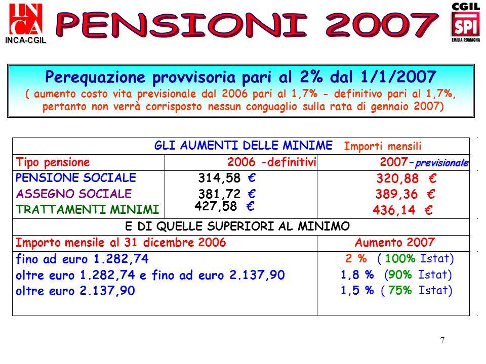 7 Perequazione provvisoria pari al 2% dal 1/1/2007 ( aumento costo vita previsionale dal 2006 pari al 1,7% - definitivo pari al 1,7%, pertanto non ver