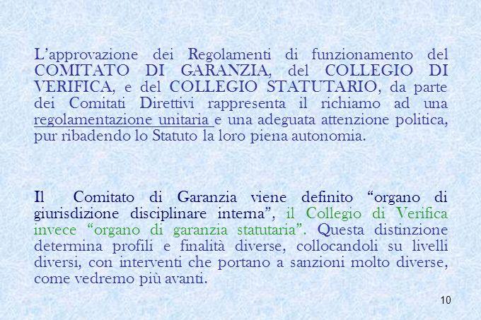 10 Lapprovazione dei Regolamenti di funzionamento del COMITATO DI GARANZIA, del COLLEGIO DI VERIFICA, e del COLLEGIO STATUTARIO, da parte dei Comitati