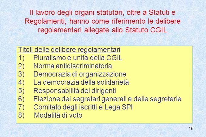 16 Il lavoro degli organi statutari, oltre a Statuti e Regolamenti, hanno come riferimento le delibere regolamentari allegate allo Statuto CGIL Titoli