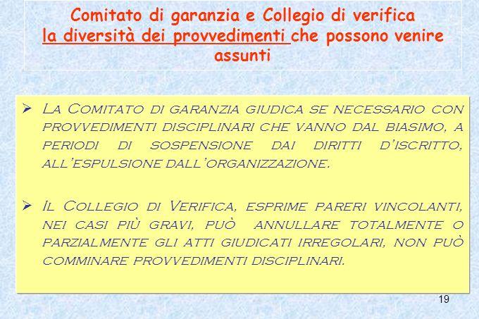 19 Comitato di garanzia e Collegio di verifica la diversità dei provvedimenti che possono venire assunti La Comitato di garanzia giudica se necessario