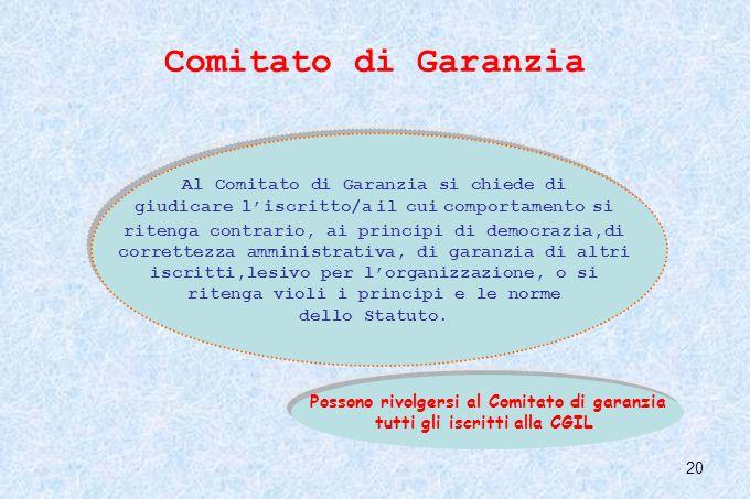 20 Comitato di Garanzia Al Comitato di Garanzia si chiede di giudicare liscritto/a il cui comportamento si ritenga contrario, ai principi di democrazi