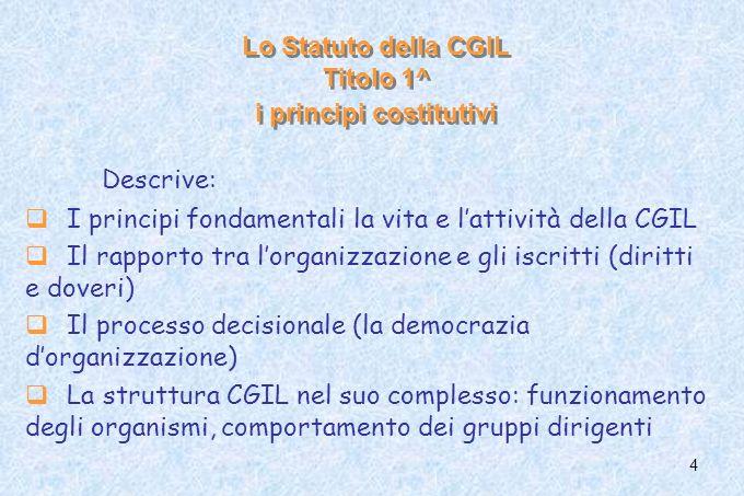 4 Lo Statuto della CGIL Titolo 1^ i principi costitutivi Descrive: I principi fondamentali la vita e lattività della CGIL Il rapporto tra lorganizzazi