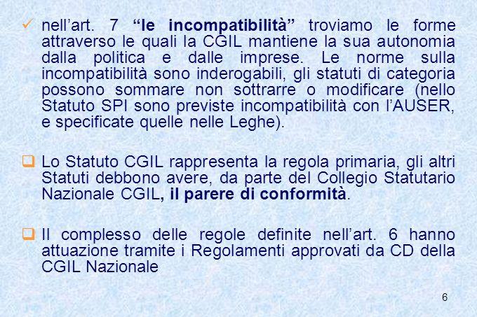 6 nellart. 7 le incompatibilità troviamo le forme attraverso le quali la CGIL mantiene la sua autonomia dalla politica e dalle imprese. Le norme sulla