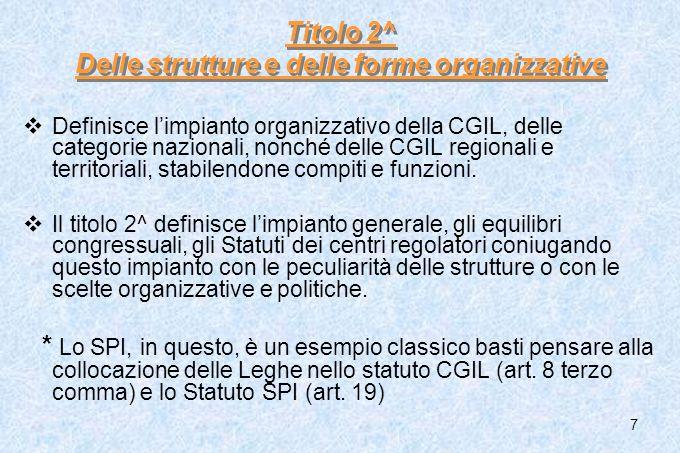 7 Titolo 2^ Delle strutture e delle forme organizzative Definisce limpianto organizzativo della CGIL, delle categorie nazionali, nonché delle CGIL reg