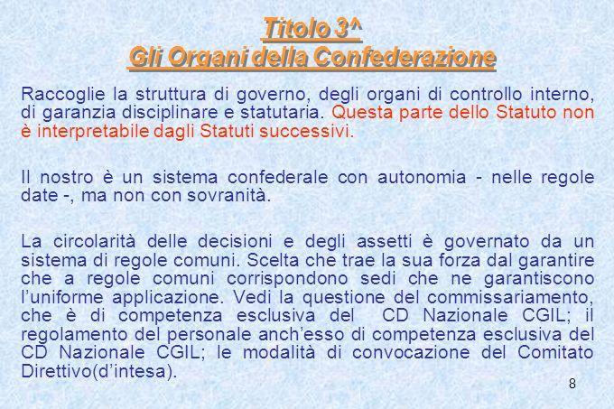 8 Titolo 3^ Gli Organi della Confederazione Raccoglie la struttura di governo, degli organi di controllo interno, di garanzia disciplinare e statutari