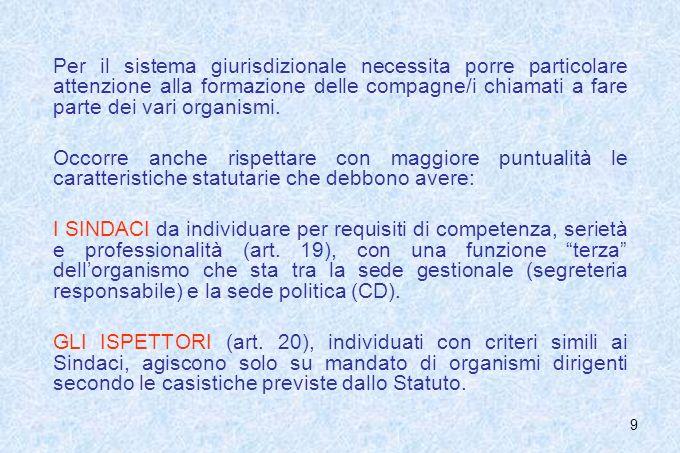 9 Per il sistema giurisdizionale necessita porre particolare attenzione alla formazione delle compagne/i chiamati a fare parte dei vari organismi. Occ