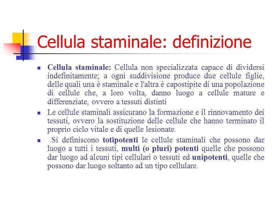 Cellula staminale: definizione Cellula staminale: Cellula non specializzata capace di dividersi indefinitamente; a ogni suddivisione produce due cellu
