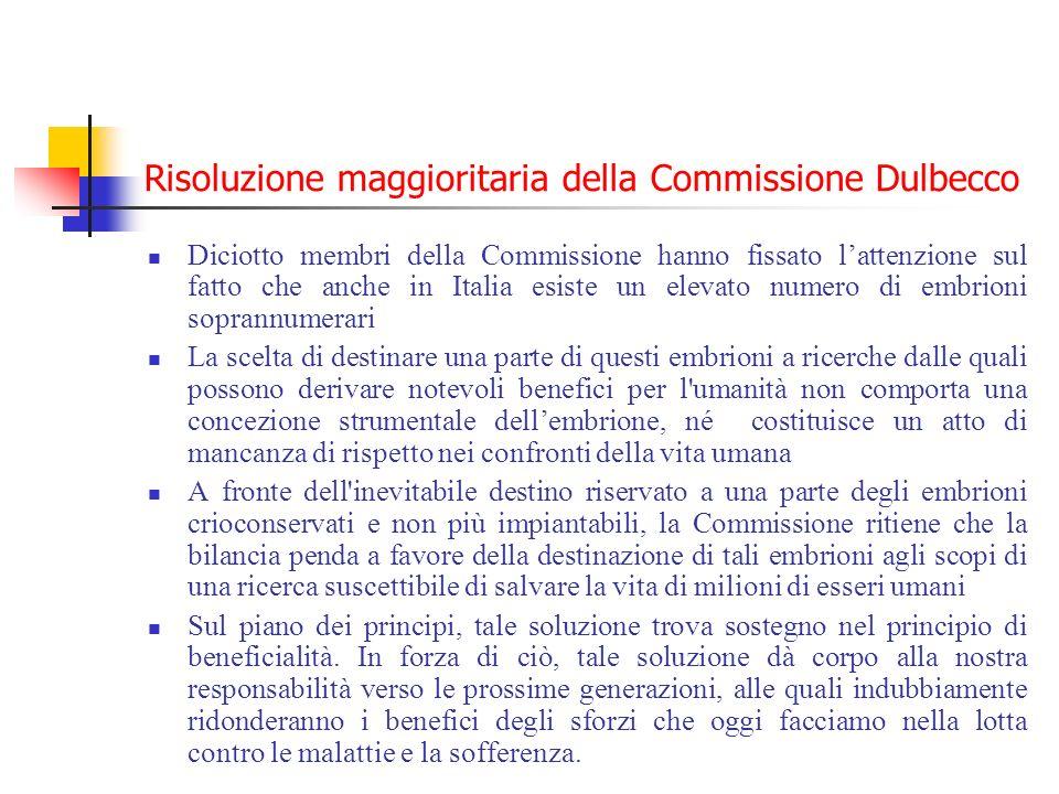 Risoluzione maggioritaria della Commissione Dulbecco Diciotto membri della Commissione hanno fissato lattenzione sul fatto che anche in Italia esiste