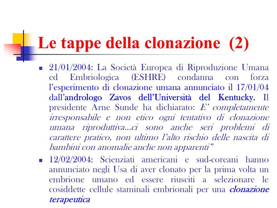 Le tappe della clonazione (2) 21/01/2004: La Società Europea di Riproduzione Umana ed Embriologica (ESHRE) condanna con forza lesperimento di clonazio