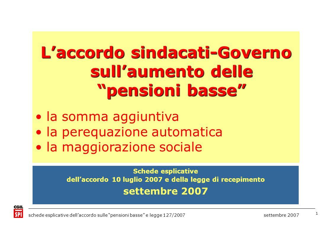 1 schede esplicative dellaccordo sulle pensioni basse e legge 127/2007 settembre 2007 Laccordo sindacati-Governo sullaumento delle pensioni basse la s
