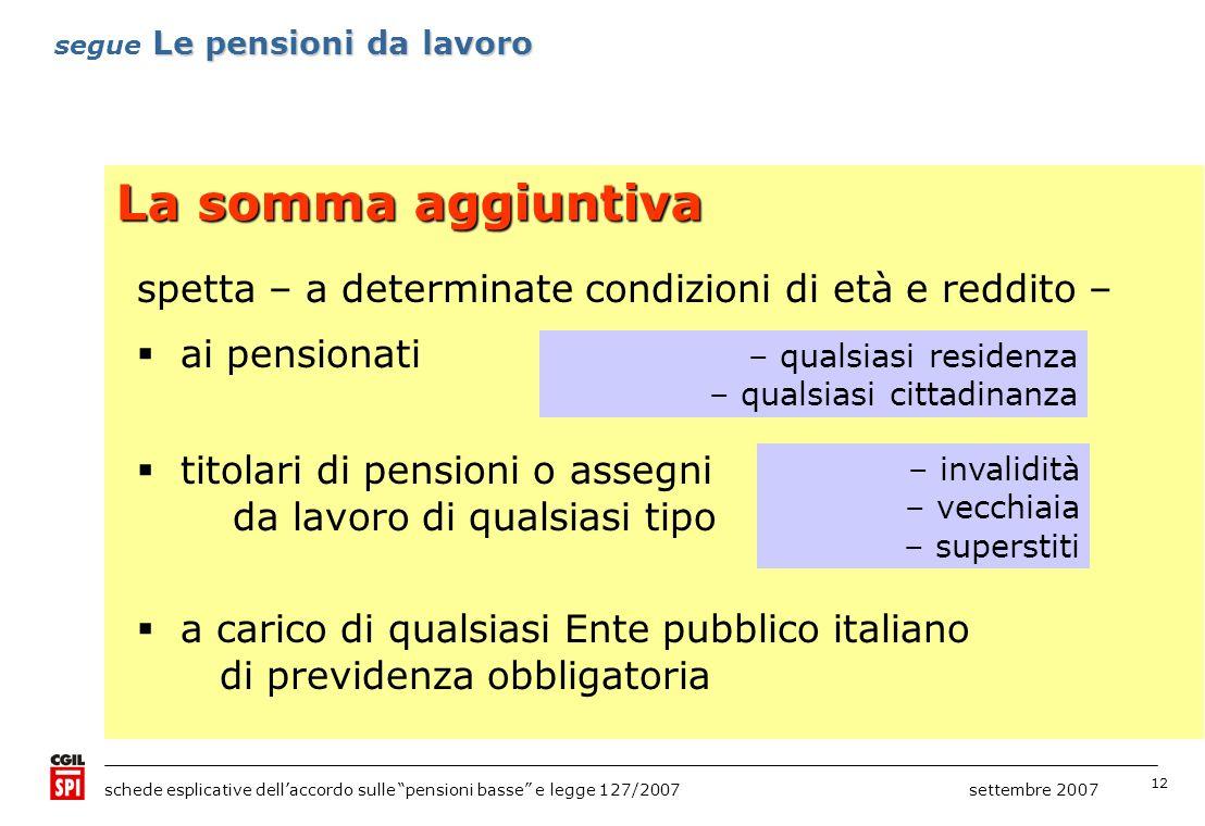 12 schede esplicative dellaccordo sulle pensioni basse e legge 127/2007 settembre 2007 La somma aggiuntiva spetta – a determinate condizioni di età e