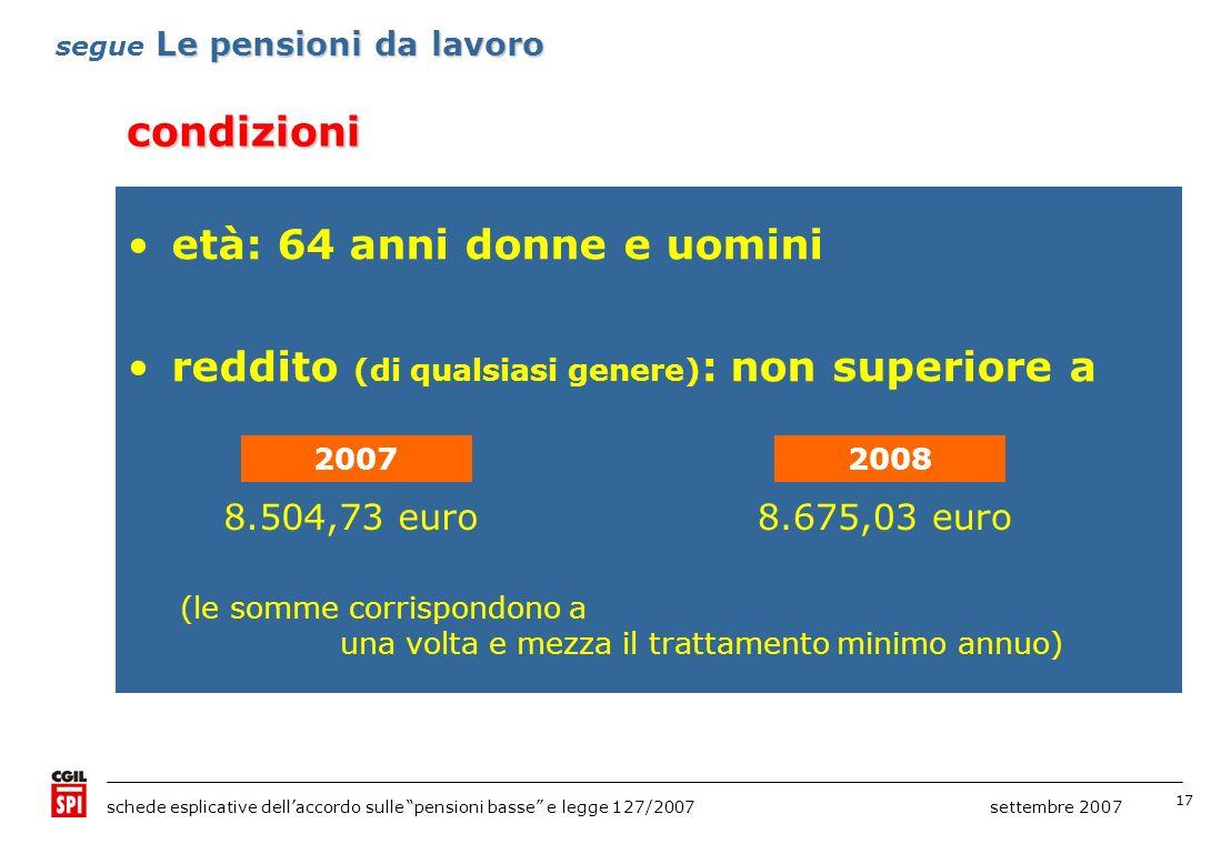 17 schede esplicative dellaccordo sulle pensioni basse e legge 127/2007 settembre 2007 condizioni Le pensioni da lavoro segue Le pensioni da lavoro et