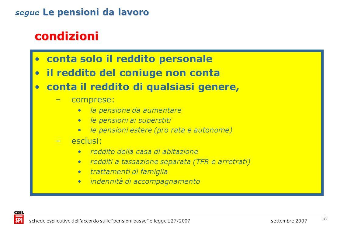 18 schede esplicative dellaccordo sulle pensioni basse e legge 127/2007 settembre 2007 condizioni Le pensioni da lavoro segue Le pensioni da lavoro età: 64 anni donne e uomini reddito (di qualsiasi genere) : non superiore a 20082007 8.504,73 euro8.675,03 euro (le somme corrispondono a una volta e mezza il trattamento minimo annuo) conta solo il reddito personale il reddito del coniuge non conta conta il reddito di qualsiasi genere, –comprese: la pensione da aumentare le pensioni ai superstiti le pensioni estere (pro rata e autonome) –esclusi: reddito della casa di abitazione redditi a tassazione separata (TFR e arretrati) trattamenti di famiglia indennità di accompagnamento