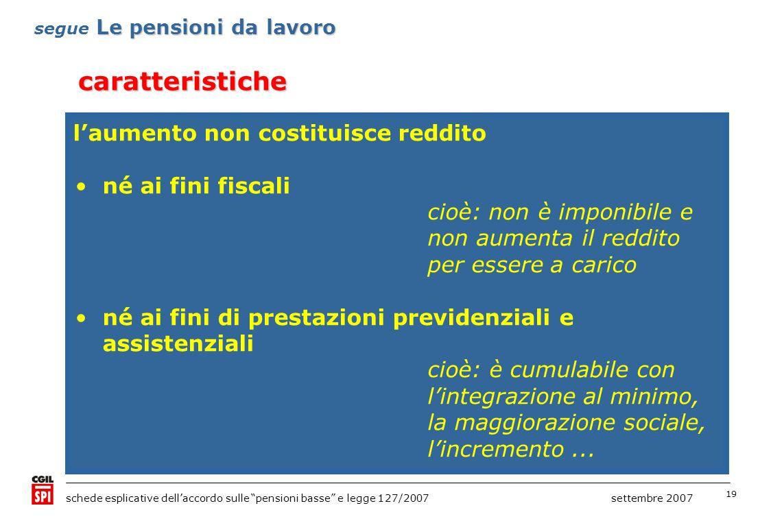 19 schede esplicative dellaccordo sulle pensioni basse e legge 127/2007 settembre 2007 né ai fini fiscali cioè: non è imponibile e non aumenta il redd