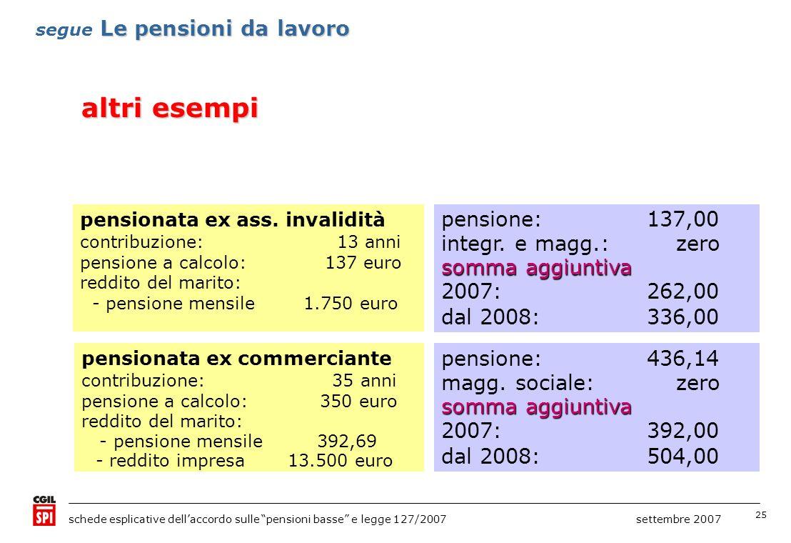 25 schede esplicative dellaccordo sulle pensioni basse e legge 127/2007 settembre 2007 pensionata ex ass. invalidità contribuzione: 13 anni pensione a