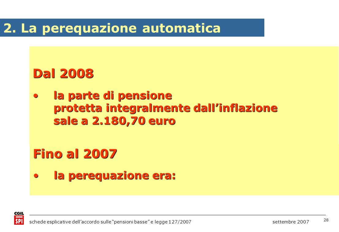 28 schede esplicative dellaccordo sulle pensioni basse e legge 127/2007 settembre 2007 2. La perequazione automatica Dal 2008 la parte di pensione pro