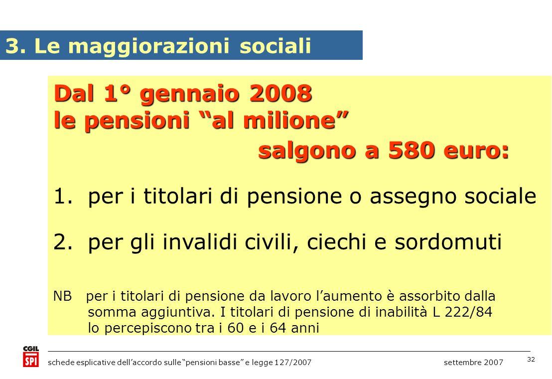 32 schede esplicative dellaccordo sulle pensioni basse e legge 127/2007 settembre 2007 3. Le maggiorazioni sociali Dal 1° gennaio 2008 le pensioni al