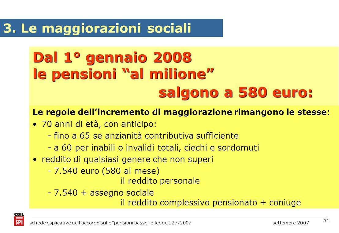 33 schede esplicative dellaccordo sulle pensioni basse e legge 127/2007 settembre 2007 Dal 1° gennaio 2008 le pensioni al milione salgono a 580 euro: