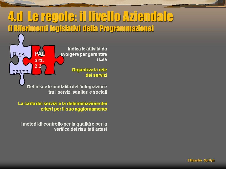 PALartt.2,3 D.lgv.229/99 Indica le attività da svolgere per garantire i Lea Organizza la rete dei servizi Definisce le modalità dellintegrazione tra i servizi sanitari e sociali La carta dei servizi e la determinazione dei criteri per il suo aggiornamento I metodi di controllo per la qualità e per la verifica dei risultati attesi 4.d Le regole: il livello Aziendale (I Riferimenti legislativi della Programmazione) G.Oleandro - Spi-Cgil