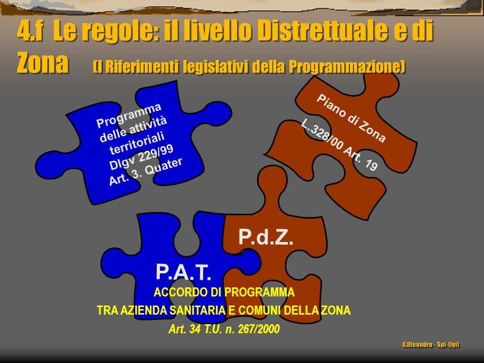 Piano di Zona L.328/00 Art. 19 Programma delle attività territoriali Dlgv 229/99 Art. 3. Quater P.A.T. P.d.Z. ACCORDO DI PROGRAMMA TRA AZIENDA SANITAR