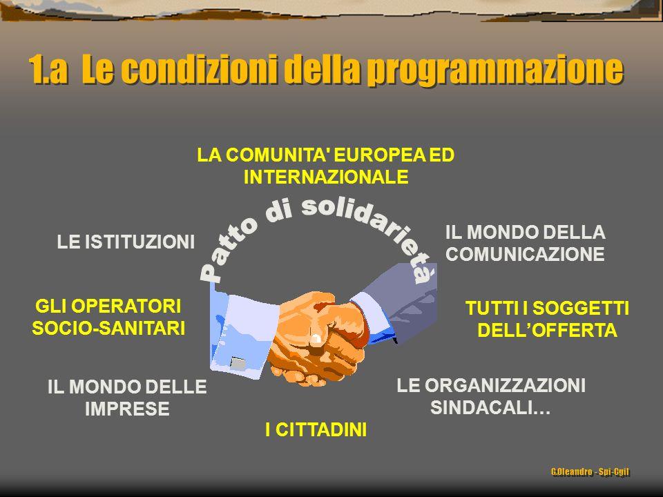 1.a Le condizioni della programmazione LE ISTITUZIONI LA COMUNITA EUROPEA ED INTERNAZIONALE GLI OPERATORI SOCIO-SANITARI IL MONDO DELLE IMPRESE I CITTADINI TUTTI I SOGGETTI DELLOFFERTA IL MONDO DELLA COMUNICAZIONE LE ORGANIZZAZIONI SINDACALI… G.Oleandro - Spi-Cgil