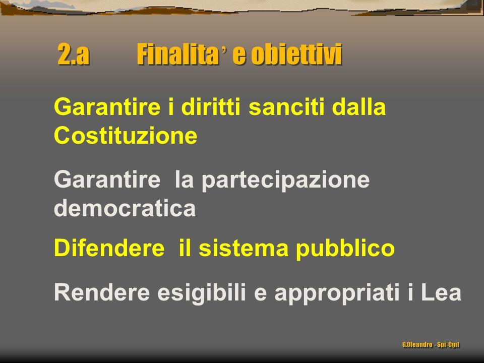Rendere esigibili e appropriati i Lea Difendere il sistema pubblico Garantire i diritti sanciti dalla Costituzione Garantire la partecipazione democratica 2.a Finalita e obiettivi G.Oleandro - Spi-Cgil