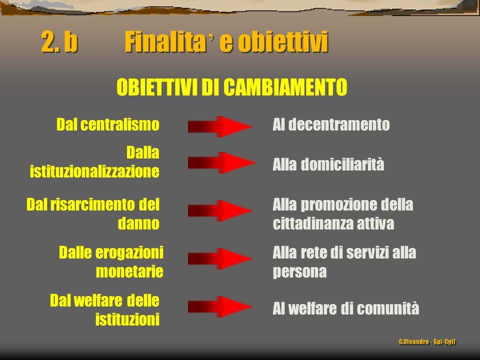 Dal centralismo OBIETTIVI DI CAMBIAMENTO Dalla istituzionalizzazione Dal risarcimento del danno Alla promozione della cittadinanza attiva 2. b Finalit