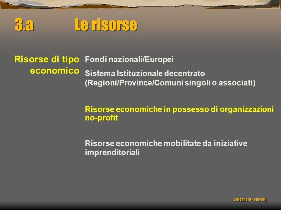 Fondi nazionali/Europei Sistema Istituzionale decentrato (Regioni/Province/Comuni singoli o associati) 3.a Le risorse Risorse di tipo economico Risors